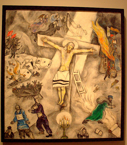 White Crucifixion--oil painting by Marc Chagall, 1938
