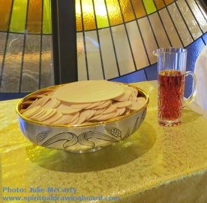 Communion bread and wine--photo Julie McCarty